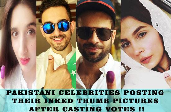 Pakistani Celebrities Posting Their Inked Thumb Pictures , after casting votes !!