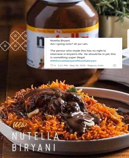 Nutella Biryani pic goes viral on the internet  Users call it worst food combo ever!!!