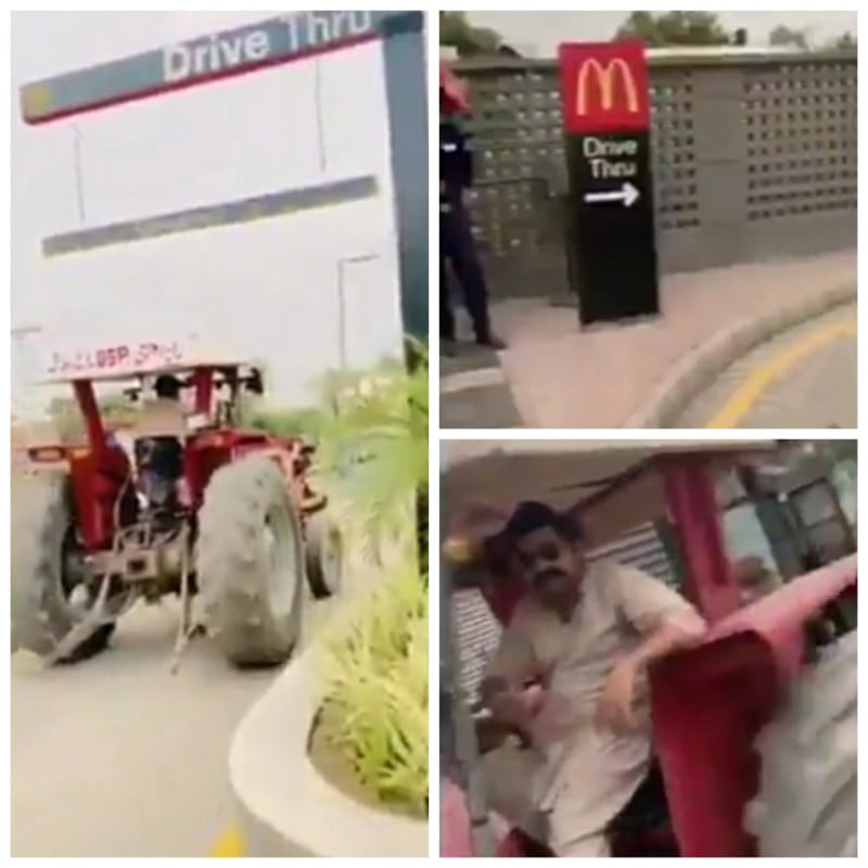 Watch how Mc Donald's meals gets Take Away in a tractor!!!