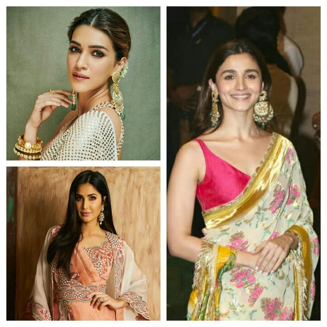 Katrina Kaif, Alia Bhatt, Kriti Sanon rocked their desi look at Ganesh Chaturthi Celebrations !!